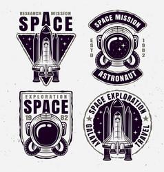 Space exploration set four emblems vector