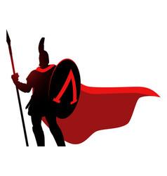 Spartan warrior wearing helmet and red cloak vector
