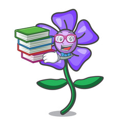 Student with book periwinkle flower mascot cartoon vector