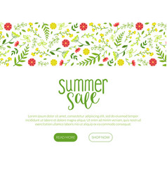 summer sale landing page with beautiful flowers vector image