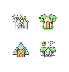 Temporary safe residence rgb color icons set vector