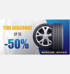 Tire discount advertising coupon or flyer template vector