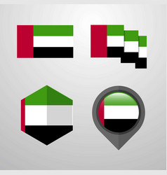 uae flag design set vector image