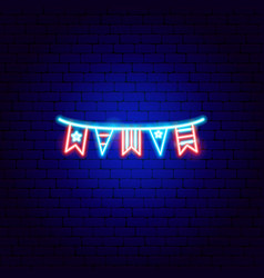 usa flags neon sign vector image