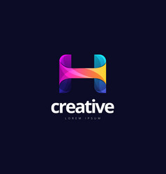 vibrant trendy colorful creative letter h logo vector image
