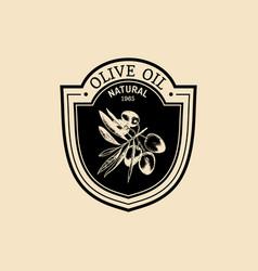 vintage olive logo retro emblem with vector image