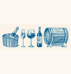 Wine set alcoholic drink in hand sparkling vector