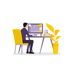 Working at home flat style vector
