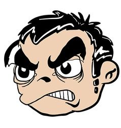 angry boy head vector image vector image