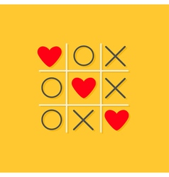 Cris cros red circle three heart yellow background vector image vector image