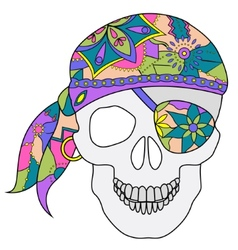 painted skull vector image vector image