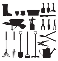 Set of silhouettes of objects garden tools vector