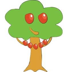 Apple tree smile color 01 vector image