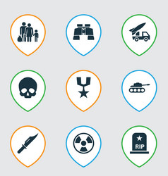 Battle icons set collection of ordnance vector