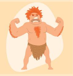 caveman primitive stone age man cartoon vector image