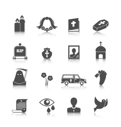 Funeral icons set vector image vector image