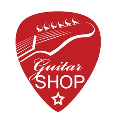icon with guitar and pick vector image vector image