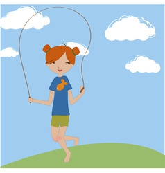 little girl jumping with the skipping rope vector image