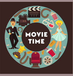 retro cinema movie time poster flat vector image vector image
