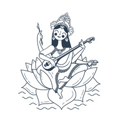 black and white happy vasant panchami saraswati vector image vector image