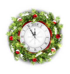 christmas wreath with clock new year decoration vector image