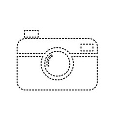 digital photo camera sign black dashed vector image vector image