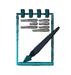 drawing notepad paper pen writing office vector image