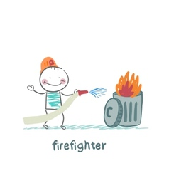 Firefighter puts out the trash vector