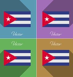 Flags Cuba Set of colors flat design and long vector image
