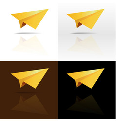four golden paper planes on background vector image vector image