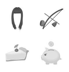 Hairdresser cooking and other monochrome icon in vector