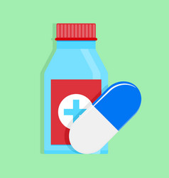 medical medicine bottle and capsule vector image