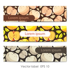 Set of three card with apples vector image