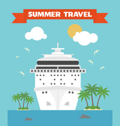 summer travel flat background with ship vector image vector image