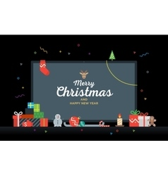 TV with Congratulatory text Merry Christmas and vector image vector image