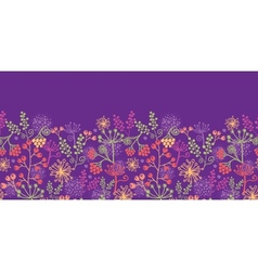 Colorful garden plants horizontal seamless pattern vector image