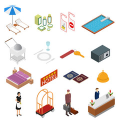 hotel service color icons set isometric view vector image vector image