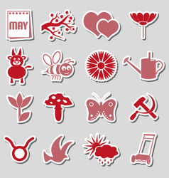 May month theme set of simple red and pink sticker vector