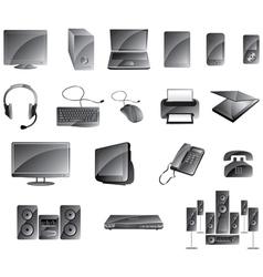 Media Icon Set Glossy Gray Color vector image vector image