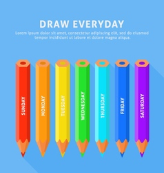 seven color pencils for everyday vector image vector image