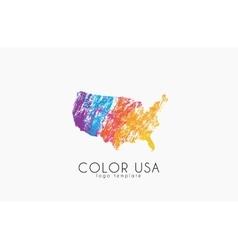 Usa logo color map of usa america logo design vector