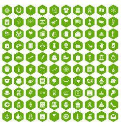 100 calendar icons hexagon green vector