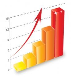 3d bar chart vector image