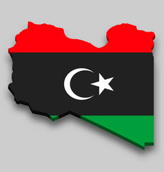 3d isometric map libya with national flag vector