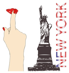 A big kiss from New York vector image
