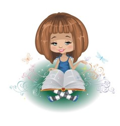 A girl with a book vector