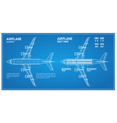Airplane blueprint plan top view vector