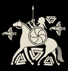 Ancient scandinavian god odin god odin on horse vector