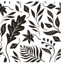 autumn leaves black and white seamless vector image