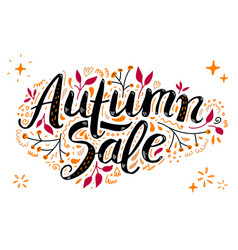 autumn sale lettering with hand drawn vector image
